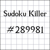 Sudoku Killer №289981