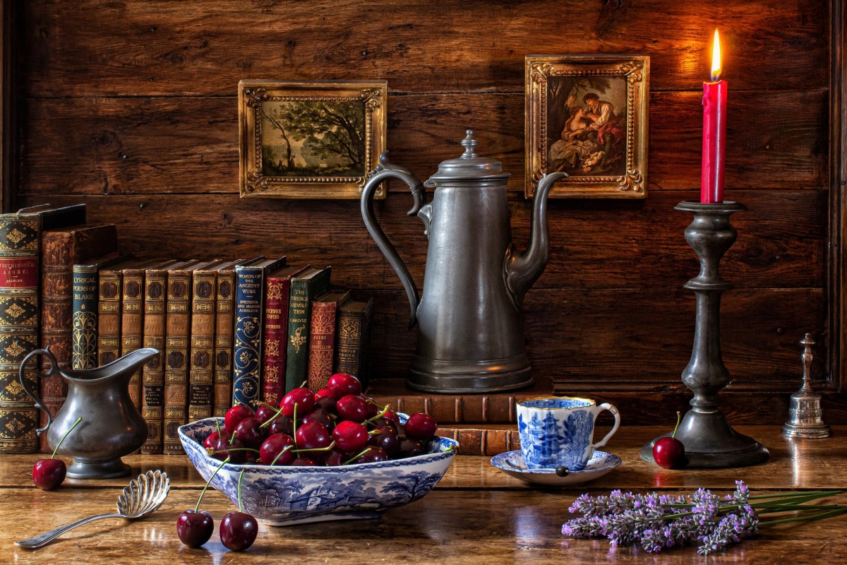 Jigsaw Puzzle Solve jigsaw puzzles online - Cherries and the coffee pot