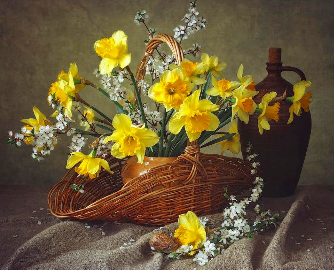 Jigsaw Puzzle Solve jigsaw puzzles online - Daffodils and plum