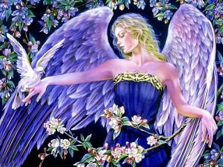 Собирать пазл Angel with dove онлайн