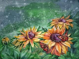 Собирать пазл Butterfly on flower онлайн