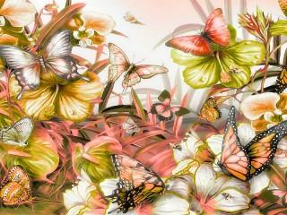 Собирать пазл Butterflies and flowers онлайн