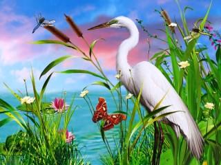 Собирать пазл White heron онлайн