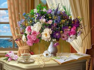 Собирать пазл Bouquet at the window онлайн