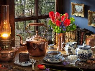 Собирать пазл Kettle and tulips онлайн