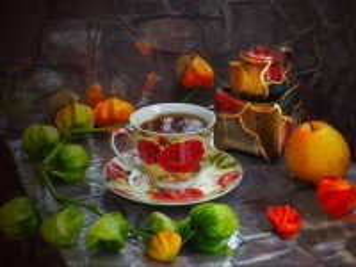 Собирать пазл A Cup of tea and physalis онлайн