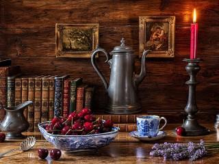 Собирать пазл Cherries and the coffee pot онлайн