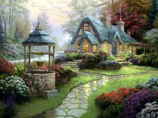Собирать пазл Lovely house in the woods онлайн