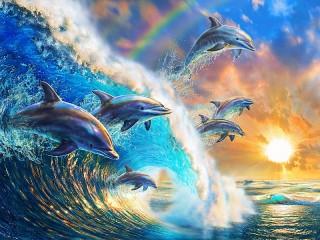 Собирать пазл Dolphins and a wave онлайн