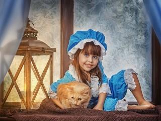Собирать пазл The girl and the cat онлайн