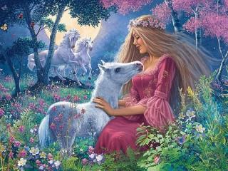 Собирать пазл Girl and foal онлайн