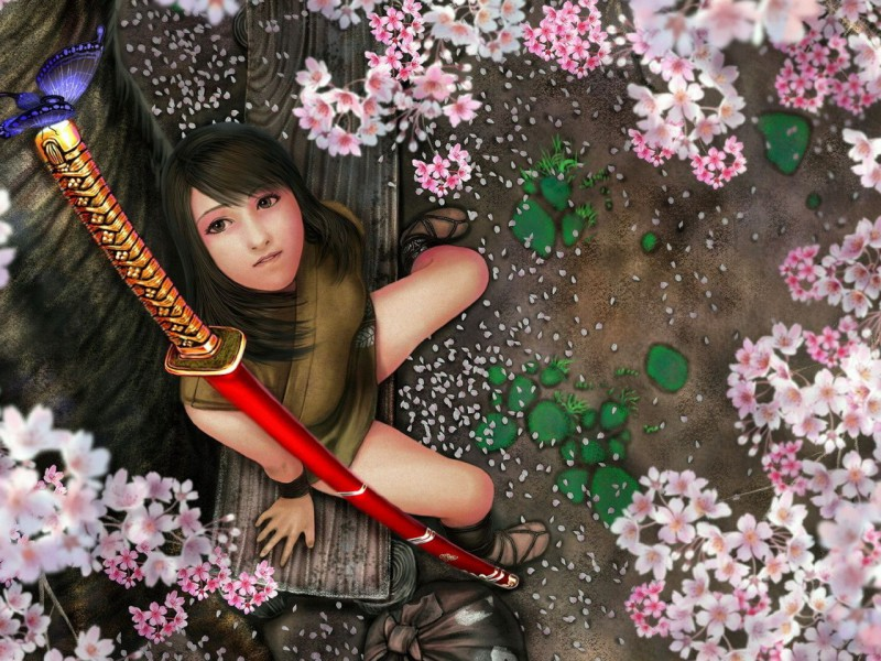 Jigsaw Puzzle Solve jigsaw puzzles online - Girl under the sakura