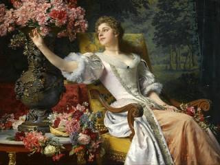 Собирать пазл Girl with flowers онлайн