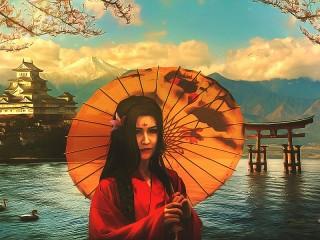 Собирать пазл Girl with umbrella онлайн