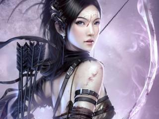 Собирать пазл Girl with arrows онлайн