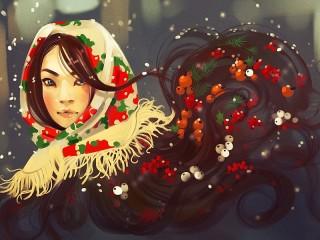 Собирать пазл Girl in a scarf онлайн