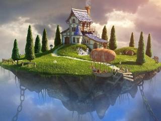 Собирать пазл House on the island онлайн