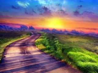 Собирать пазл Road to clouds онлайн