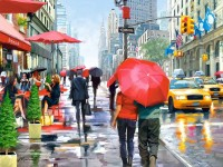 Собирать пазл Rain in New York онлайн