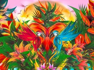 Собирать пазл Two parrots онлайн