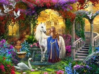 Собирать пазл Unicorn and Princess онлайн