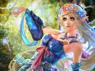 Собирать пазл Elf with butterflies онлайн
