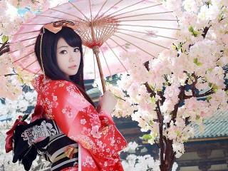Собирать пазл Geisha with umbrella онлайн