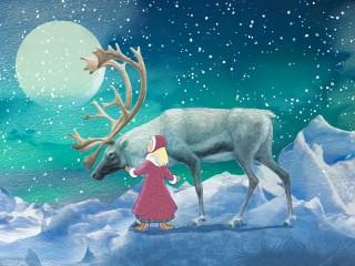 Собирать пазл Gerda and the reindeer онлайн