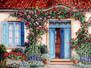 Собирать пазл Blue door онлайн