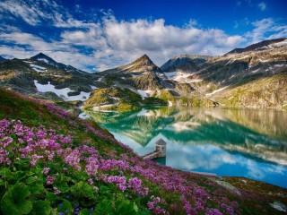 Собирать пазл Mountain lake in the spring онлайн