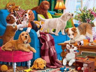 Собирать пазл Playful puppies онлайн