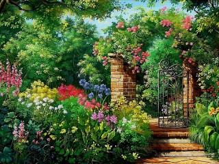 Собирать пазл Gate and garden онлайн