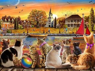 Собирать пазл Cat on the shore онлайн