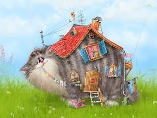 Собирать пазл Cat-house онлайн