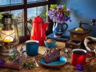 Собирать пазл Red coffee pot онлайн