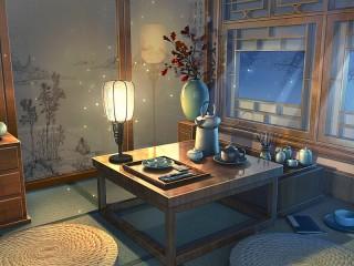 Собирать пазл Lamp and moths онлайн