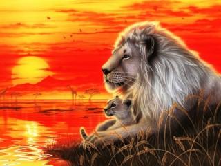 Собирать пазл Lion and cub онлайн