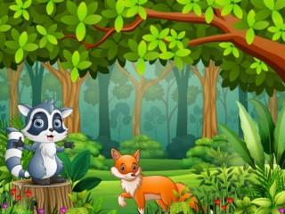 Собирать пазл Chanterelle and raccoon онлайн