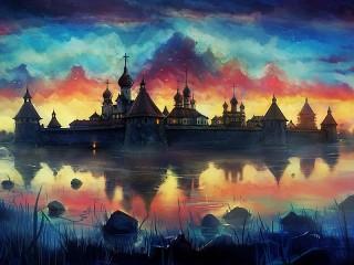 Собирать пазл The monastery on the island онлайн