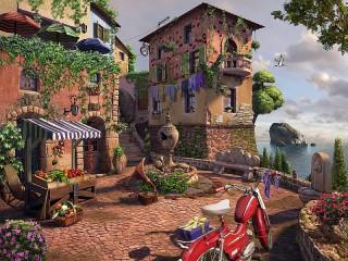 Собирать пазл Motorcycle at the house онлайн