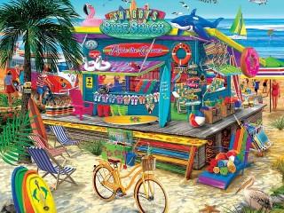 Собирать пазл Summer shop онлайн
