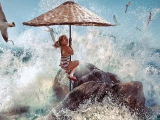 Собирать пазл Covered the wave онлайн
