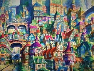 Собирать пазл Painted town онлайн