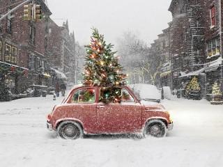 Собирать пазл Novogodnee avto онлайн
