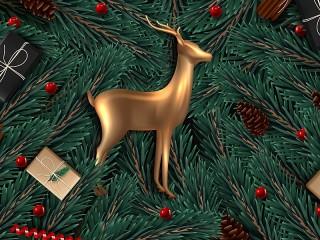 Собирать пазл The deer on the tree онлайн
