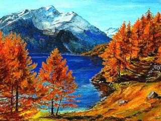 Собирать пазл Autumn in the mountains онлайн