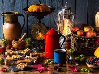 Собирать пазл Autumn tea party онлайн