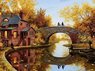 Собирать пазл Autumn day онлайн