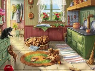 Собирать пазл Mischievous little family онлайн