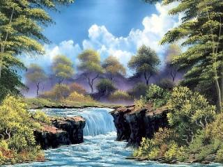 Собирать пазл Landscape with waterfall онлайн